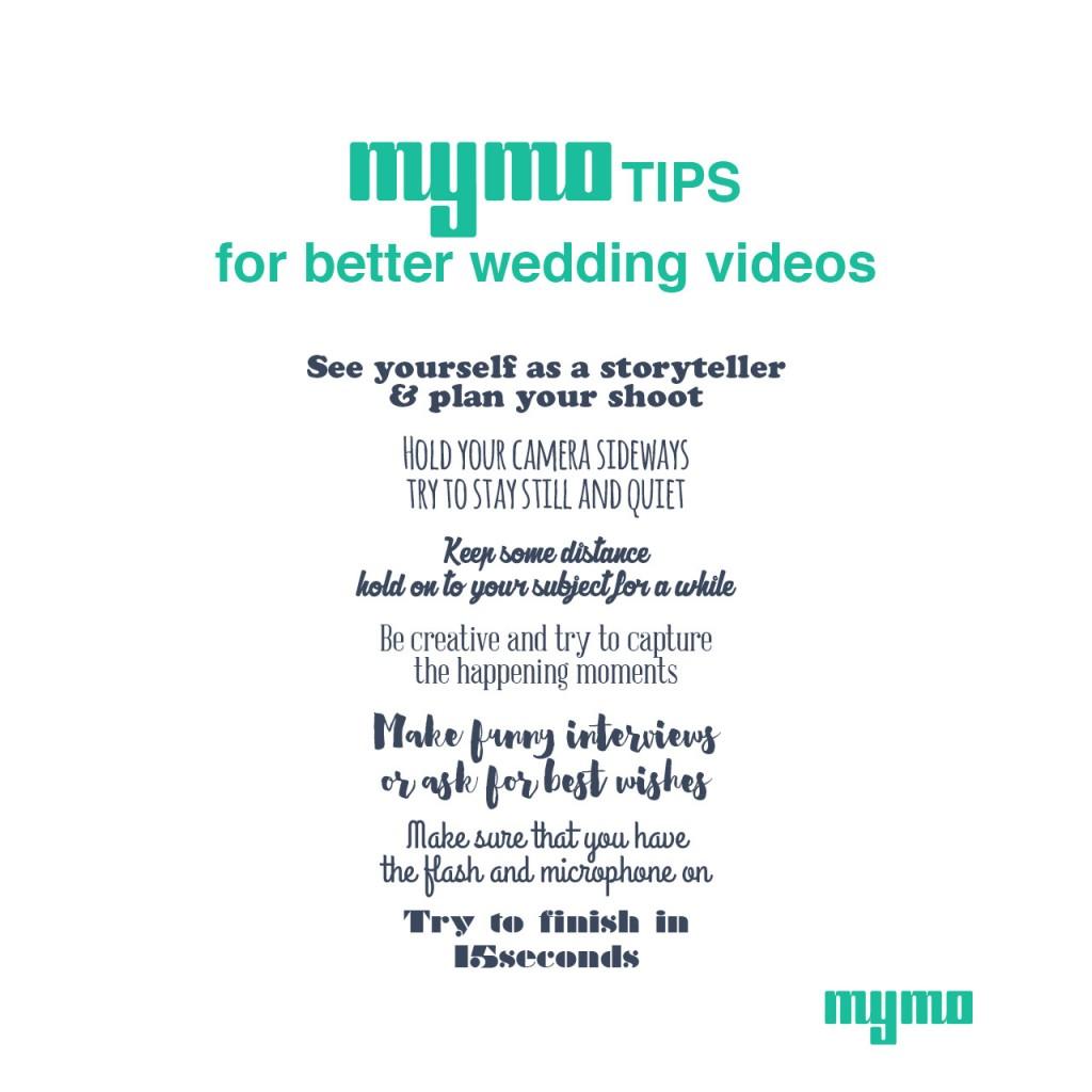 MyMo Tips for better wedding videos